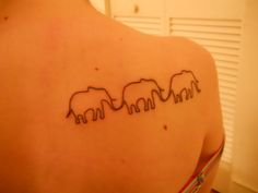 """""""fuckyeahtattoos:  My second of two, done about two weeks ago. The three elephants represent me and my two best friends. :]"""""""