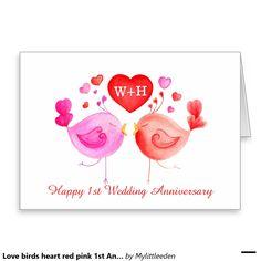 Love birds heart red pink 1st Anniversary art card © watercolor art by www.mylittleeden.com #lovebirds #1stanniversary #anniversarycard