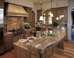 images of finished exotic granite in kitchens | Golden Bordeaux Granite Kitchen Countertop Island Bartop Finished ...