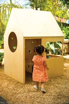 check out this simple plywood kids house for outdoors / backyard. love the open door and window concept!
