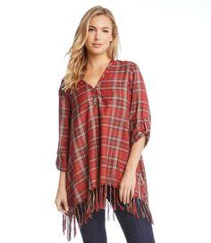 cf4480a0 PLAID FRINGE TOP- A swingy fringed hem adds carefree spirit to a billowy plaid  shirt. Karen Kane