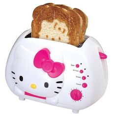 Anyone that knows me knows I love everything Hello Kitty. This toaster I really love! Not only is it the actual toaster look cute, but it makes a Hello Kitty design on your toast! One of the cutest toasters I have ever seen! Hello Kitty Toaster, Chat Hello Kitty, Hello Kitty Kitchen, Hello Kitty Items, Hello Kitty House, Hello Kitty Decor, Hello Kitty Stuff, Kitty Kitty, Kawai Japan