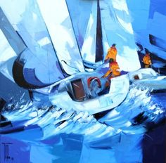 PEINTURE : PIERRICK TUAL - BLEU OCEAN Nautical Painting, Sailboat Painting, Sailboat Art, Sailboats, Glass Boat, Blue Art, Stained Glass Windows, Tenerife, Gouache