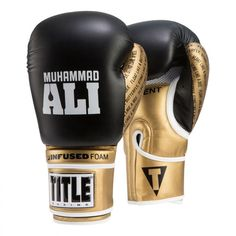 Title Boxing Ali Infused Foam Hook and Loop Training Boxing Gloves - Black/Gold Boxing Training Gloves, Boxing Gloves, Mousse, Title Boxing, Sting Like A Bee, Baskets, Float Like A Butterfly, Kickboxing Workout, Protective Gloves
