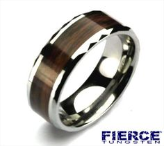 Tungsten Dress Ring with Woodgrain Inlay and Faceted Edges  #Tungsten #Jewellery #Jewelry