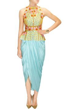 Sky blue embroidered peplum jacket with blue dhoti wrap skirt available only at Pernia's Pop-Up Shop.