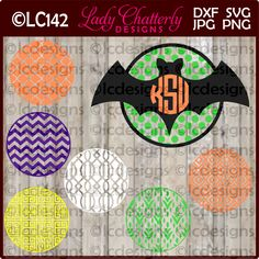 LC142 - Bats with Monogram Frames and Patterns by LadyChatterlyDesigns on Etsy