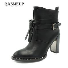 8068014085c RASMEUP Winter Women's Rivet Buckle Gothic Punk Ankle Boots Black Women  High Heel Martin Boots Zipper