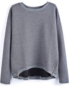 Grey Long Sleeve Plaid Pattern Zipper Blouse US$32.46