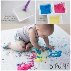 Sensory Sunday - Edible Paint using baby rice cereal and food colouring. Mix up…