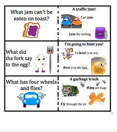Multiple Meaning Word Jokes: FREE!  This set contains 12 jokes!  Use as a warm-up or a matching game!