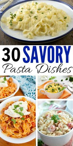 Need easy pasta recipes for dinner? This collection of 30 savory pasta dishes includes homemade ideas the whole family will go noodles over: healthy, chicken, shrimp, with sausage, vegetarian, penne, baked, alfredo, one pot... you name it!  via @eatmovemake