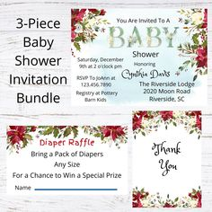Personalized 3 Piece Baby Shower Invitation Bundle - Winter Scarlett Watercolor Florals - Custom Invitation - Printable Download Baby Wall Art, Nursery Wall Art, Girl Nursery, Custom Baby Shower Invitations, Personalized Invitations, Printing Services, Online Printing, Flower Hair Bows, Childrens Wall Art