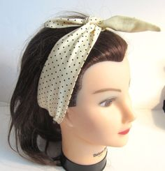 Hey, I found this really awesome Etsy listing at https://www.etsy.com/listing/151495293/tie-up-headband-cream-and-black-polka