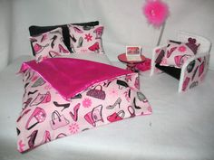 Barbie Doll Furniture Double Bed Set Table Chair Working Lamp Comforter | eBay
