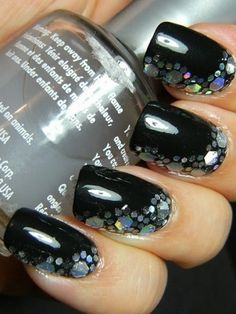 glitsy ♥ Black nails and glitter #nails #formalapproach  What a compliment to Paparazzi 93011 for prom 2013