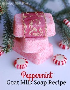 Peppermint Goat Milk Soap recipe is so pretty and smells amazing. It's easy to make and a perfect homemade gift idea!This Peppermint Goat Milk Soap recipe is so pretty and smells amazing. It's easy to make and a perfect homemade gift idea! Homemade Soap Recipes, Homemade Gifts, Diy Gifts, Soap Making Recipes, Homemade Soap Bars, Homemade Paint, Homemade Donuts, Christmas Soap, Handmade Christmas