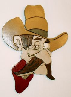 Rustic Wood Sculpture Cowboy, Perfect wall hanging  in the Man Cave, Intarsia  Wood Art. by GalleryatKingston, $80.00 USD