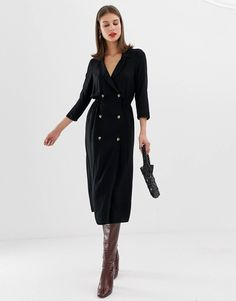 1f85c56d38 DESIGN double button through collared midi shirt dress
