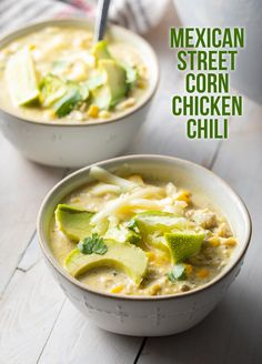 Mexican Street Corn Chicken Chili Recipe - A Spicy Perspective Combining the best elements of White Chicken Chili and classic Mexican Street Corn. This simple Chicken Chili Recipe is loaded the zesty flavor! Chowder Recipes, Chili Recipes, Mexican Food Recipes, Soup Recipes, Cooking Recipes, Healthy Recipes, Recipes Dinner, White Chili, Kitchens