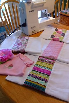 Burp rags from cloth diapers. Looks like an easy baby shower gift!