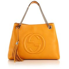 Gucci Soho Leather Shoulder Bag (23.954.705 IDR) ❤ liked on Polyvore featuring bags, handbags, shoulder bags, apparel & accessories, orange shoulder bag, chain shoulder bag, leather shoulder handbags, leather purse and accessories handbags