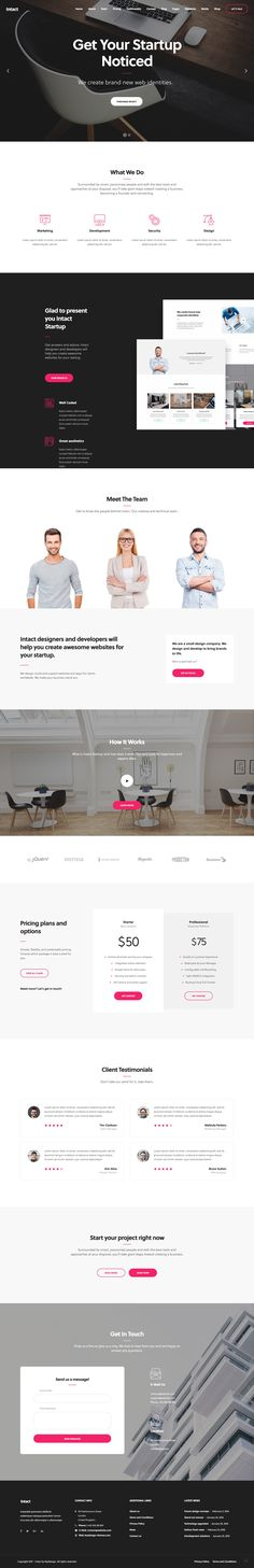 'Intact' is a slick One Page WordPress theme suited for any startup or service business. The design is definitely above average for a template and features smooth load transitions as you scroll the long page. Sections include intro slideshow, services, team, video, client logo slider, pricing table, testimonials and a contact form.