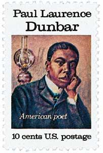Paul Laurence Dunbar, 1872-1906, (U.S.) poet, novelist. Lyrics of Lowly Life. Commemorated with the 10c Paul Laurence Dunbar, American Poet stamp issued May 1, 1975 in Dayton, Ohio. Catalog # 1554.