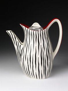 'Zambesi' pattern coffee pot, 'Fashion' shape, zebra-striped with red handles, earthenware, made by W. R. Midwinter Ltd., Burslem, ca. 1956