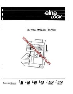 Elna Lock Serger Service Manual L1, L2, L4, L5, L4D, L5D models.  Here are just a few examples of what's included in this manual:  * Formation of 2-thread and 3-thread stitches. * Machine adjustments and settings. * Timing the machine. * Replacement and adjustment of moving cutter. * Lubrication points.  Includes great diagrams showing you step by step how to time the lower looper and more.  45 page manual.