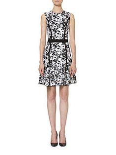 Carolina Herrera - Floral Fit & Flare Knit Dress