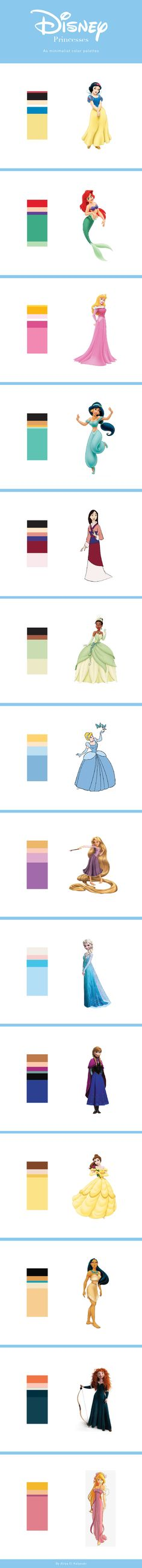 Minimalist Disney Princesses color palettes by Aliaa El Kalyoubi - Diy Pallets Disney Diy, Disney Crafts, Disney Love, Disney Pixar, Disney Princess Colors, Disney Colors, Viaje A Disneyland Paris, Disneyland Ideas, Crochet Projects