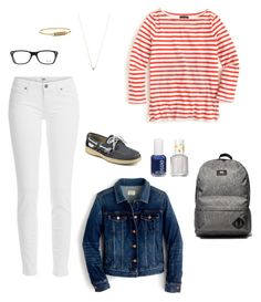 """""""Red Stripes"""" by sk8gr8 on Polyvore featuring Ray-Ban, J.Crew, Adina Reyter, Sperry, Rebecca Minkoff, Vans, Essie and Paige Denim"""
