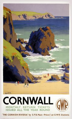 Vintage travel poster produced for the Great Western Railway GWR promoting rail travel to the county of Cornwall from Paddington Station London Posters Uk, Train Posters, Beach Posters, Railway Posters, Poster Prints, Art Prints, Gig Poster, Retro Posters, Westerns
