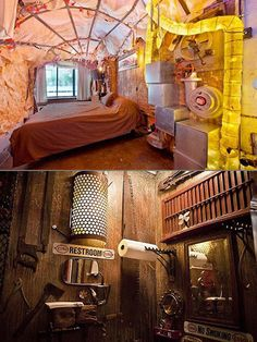 Steampunk apartment - Bedroom es aweful but i love that bathroom