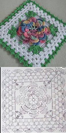 Transcendent Crochet a Solid Granny Square Ideas. Inconceivable Crochet a Solid Granny Square Ideas. Crochet Granny Square Afghan, Crochet Motifs, Granny Square Crochet Pattern, Crochet Flower Patterns, Crochet Diagram, Crochet Stitches Patterns, Crochet Chart, Crochet Squares, Crochet Flowers