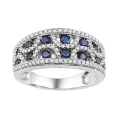 Fred Meyer Jewelers | 1/2 ct. tw. Diamond and Blue Sapphire Fashion Ring $684