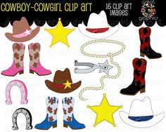 Free Cowgirl Printables   Printable Western Theme Cowboy and Cowgirl Digital Clip Art