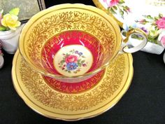 AYNSLEY TEA CUP AND SAUCER RED & YELLOW FLORAL ROSE PATTERN TEACUP GOLD GILT