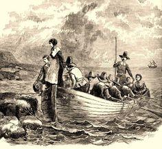 Pilgrims landing at
