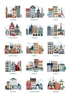 41 Super Ideas For Vintage Travel Illustration Cities Travel Illustration, Building Illustration, Feather Illustration, London Illustration, Landscape Illustration, Vintage Travel, Travel Posters, Places To Travel, Travel Destinations