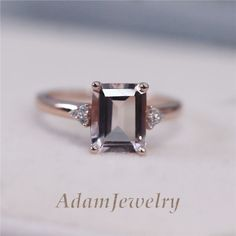 14K Rose Gold Wedding Ring 7x9mm Emerald Cut Morganite H/SI Diamond Claw Prongs  | Jewelry & Watches, Engagement & Wedding, Engagement Rings | eBay!