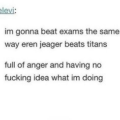 lol<<<< that's a good strategy. Attack on Titan Armin, Levi X Eren, Attack On Titan Funny, Attack On Titan Anime, Otaku, Funny Tumblr Stories, Tumblr Funny, Aot Memes, Funny Memes