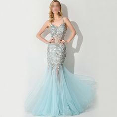 See through prom dress, Mermaid prom dress, rhinestone prom dress, Blue prom