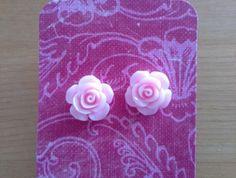 Pale Pink Rose Earrings Rose Earrings, Pale Pink, Mini, Pink Earrings