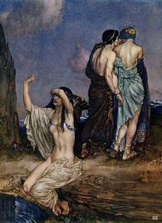 Paris Leaving the Cenone due Helen. 1922. William Russell Flint. Scottish. 1880-1969. watercolor.
