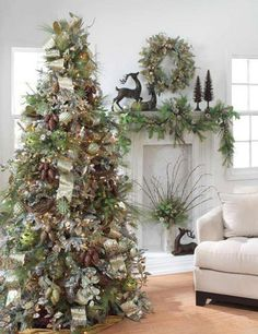 Woodland Christmas Tree idea. Love the mantle