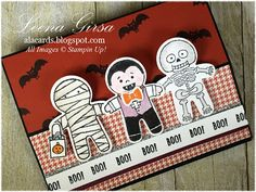 A La Cards: Scary Cute! - SU - cookie cutter halloween stamp set, easel card, Halloween, holiday catalogue 2016, petals and paisleys suite, Stampin' Up, suite seasons stamp set