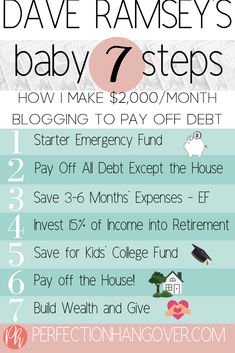 Since the The Dave Ramsey Baby Steps have helped millions of people get out of debt and start them down the path to achieving financial freedom. Make Money Blogging, Money Saving Tips, Saving Ideas, Managing Money, Money Tips, Budgeting Finances, Budgeting Tips, Dave Ramsey Debt Snowball, Planning Budget