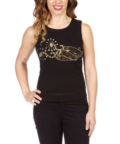 Look at this Black Rhinestone Spur Tank - Women on #zulily today!